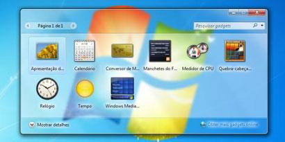 Imagem de Segurança: Microsoft não recomenda o uso de gadgets na Área de trabalho do Windows no site TecMundo