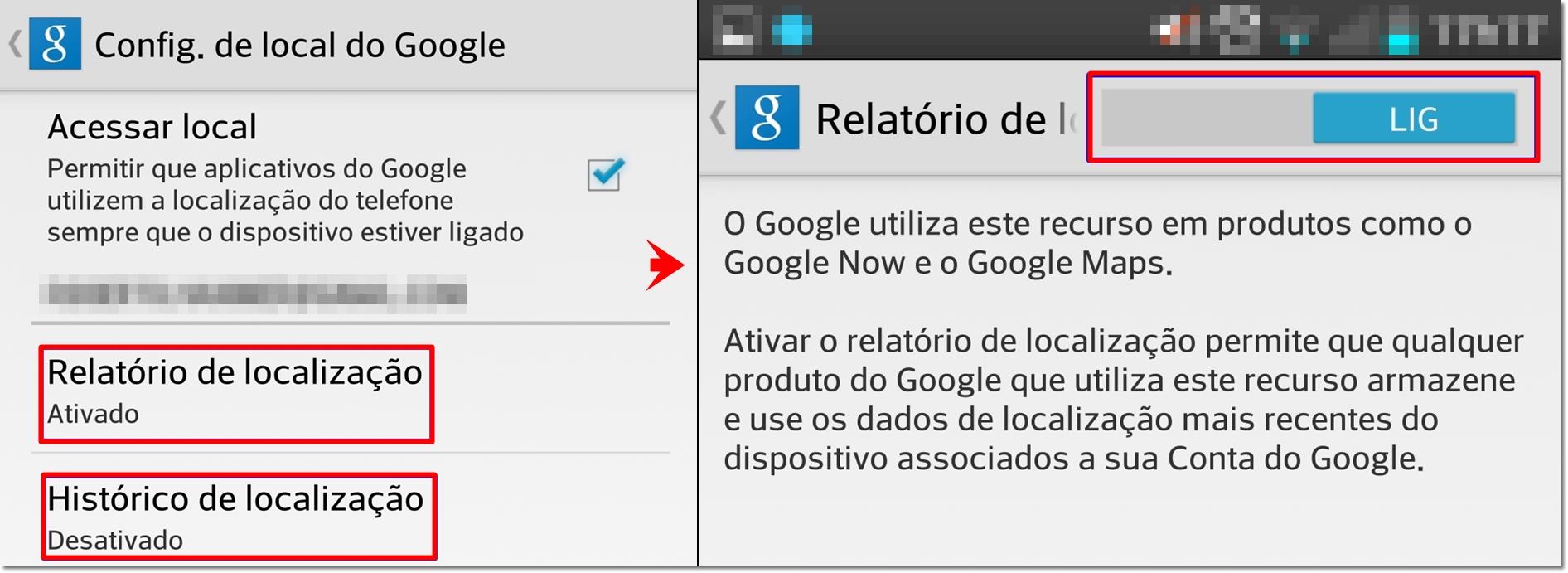 historico de localização celular google