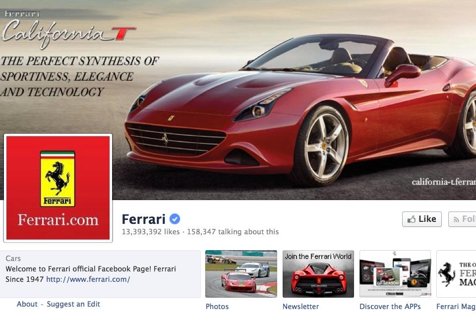 Imagem de Página da Ferrari no Facebook está sendo alvo de processo no site TecMundo
