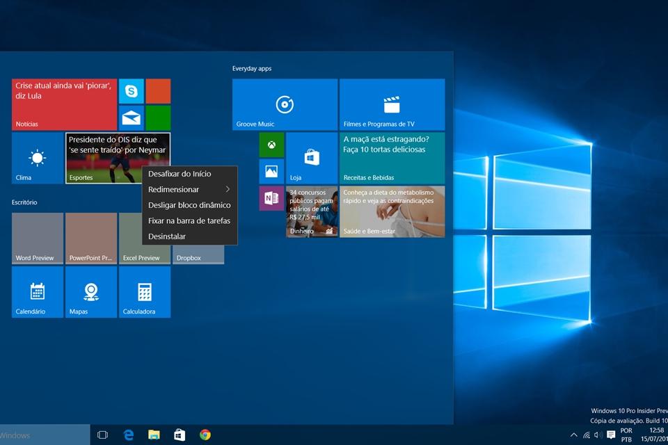 Imagem de Windows 10: como trocar a cor do Menu Iniciar e personalizar suas tiles no tecmundo