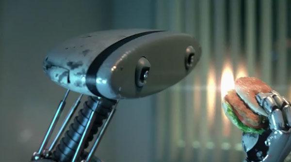robô comendo hambúrguer