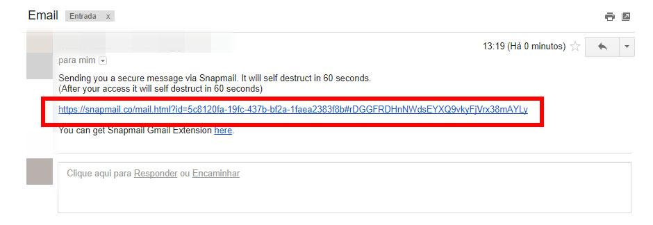 Uma captura de tela do Gmail