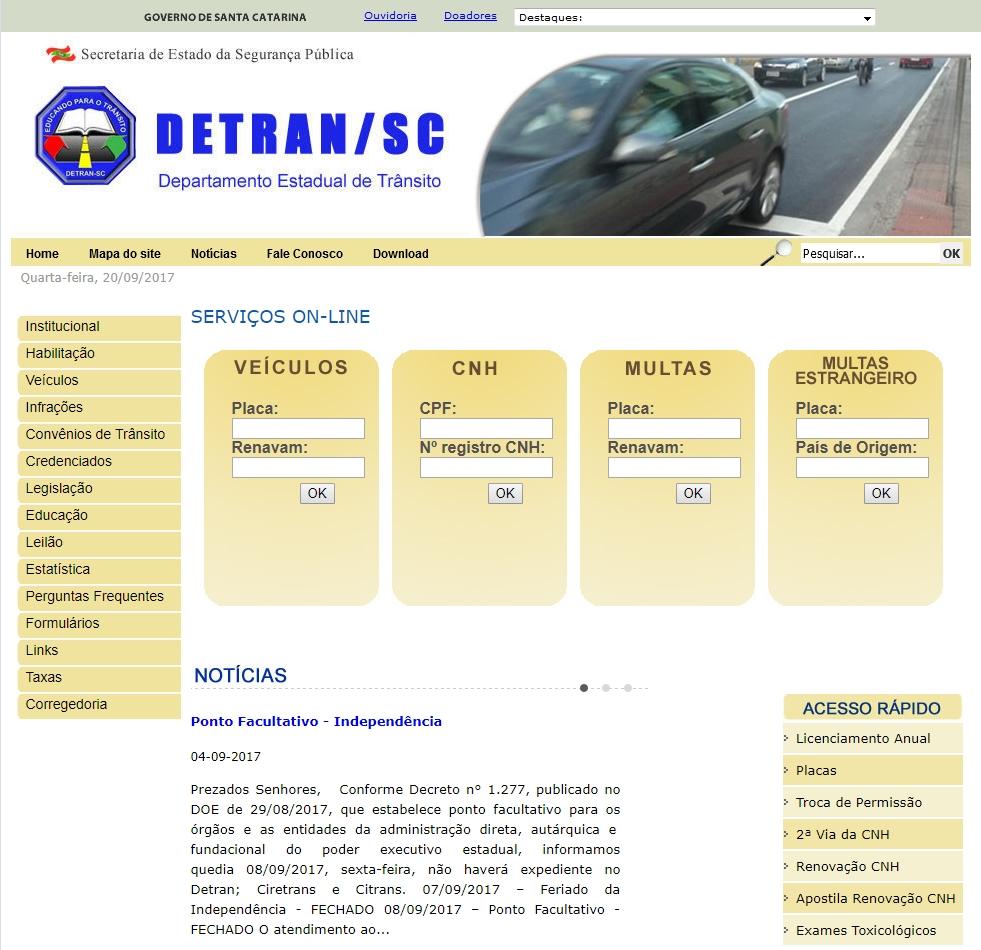 Uma captura do site detran
