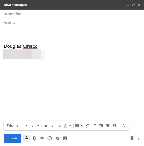 Nova mensagem Gmail