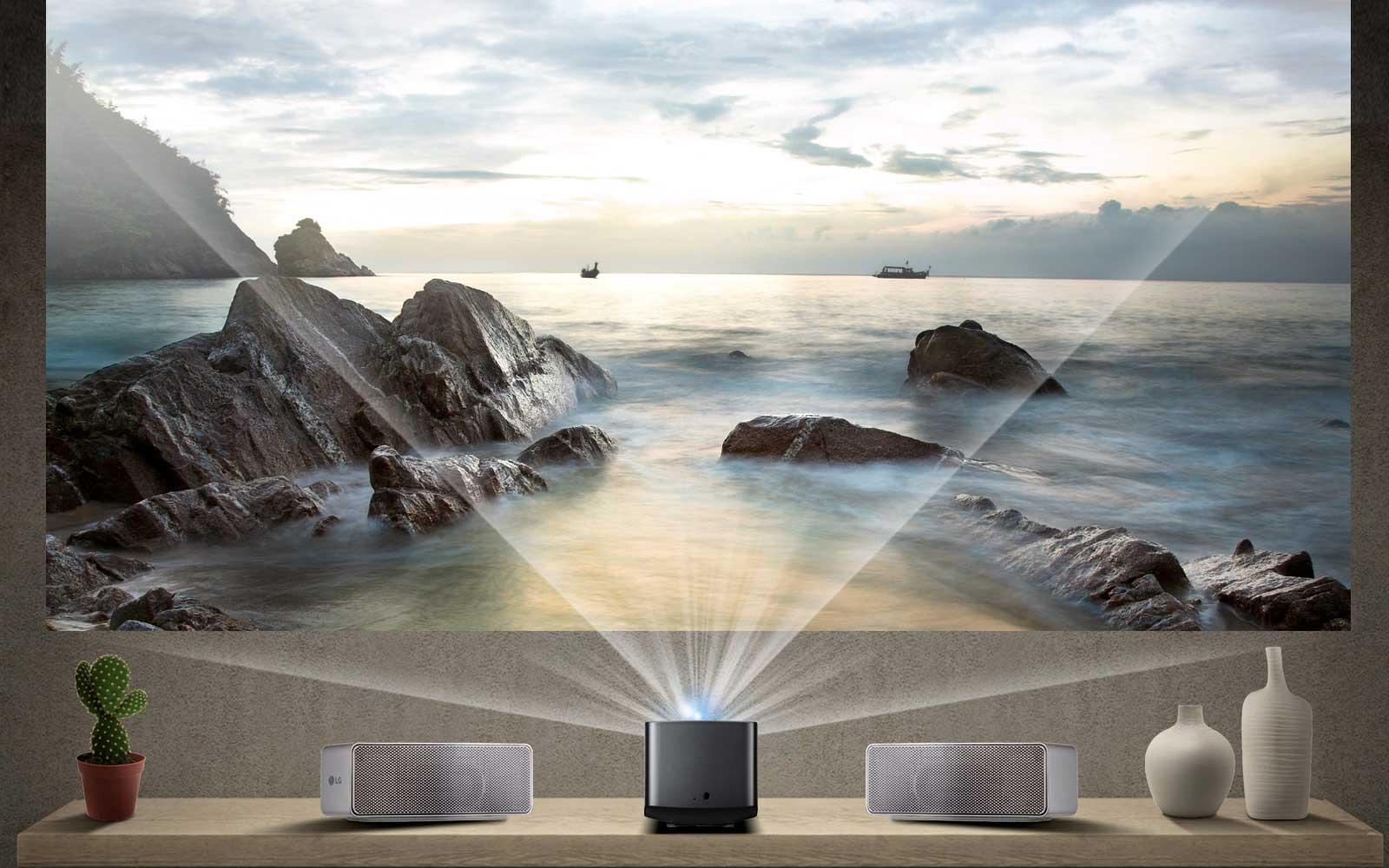 """Imagem de LG apresenta o CineBeam, o projetor que funciona como uma SmartTV de 100"""" no tecmundo"""