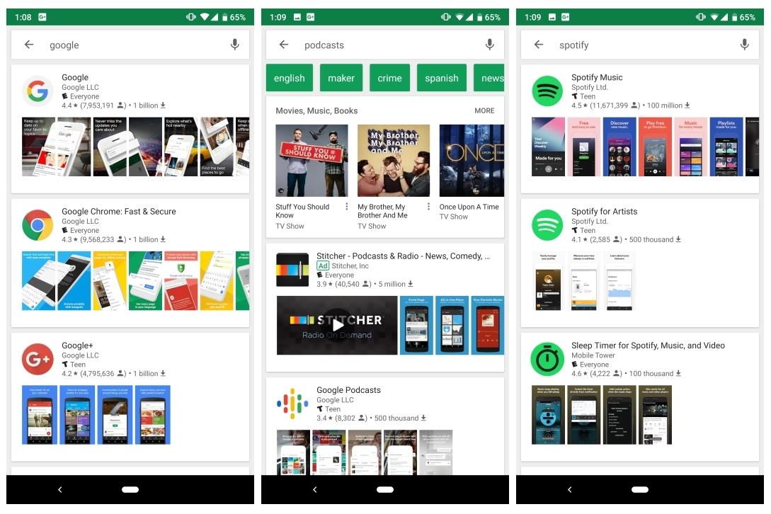 Imagem de Nova Play Store mostra resultados de buscas em cards e com capturas de tela no tecmundo