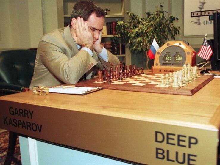 Uma partida de xadrez.