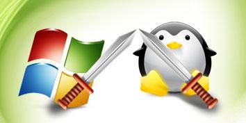 Imagem de Windows versus Linux no site TecMundo