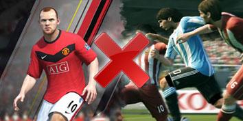 Imagem de FIFA 11 contra Pro Evolution Soccer 2011 no site TecMundo