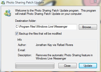 Patch para remoção do Photo Sharing