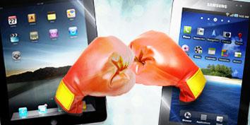 Imagem de iPad versus Galaxy Tab no site TecMundo