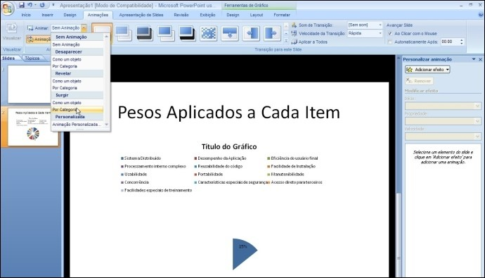 Exportando para o Power Point e inserindo animações
