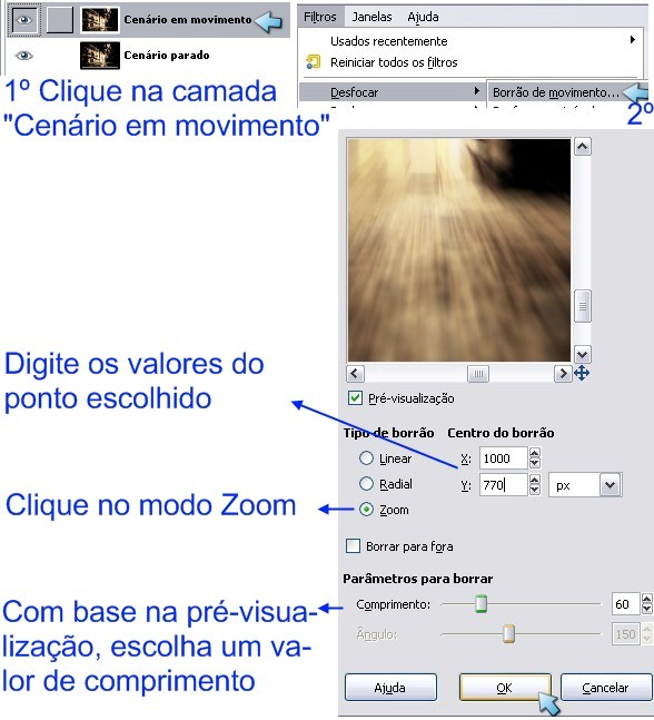 Use o filtro Borrão de movimento