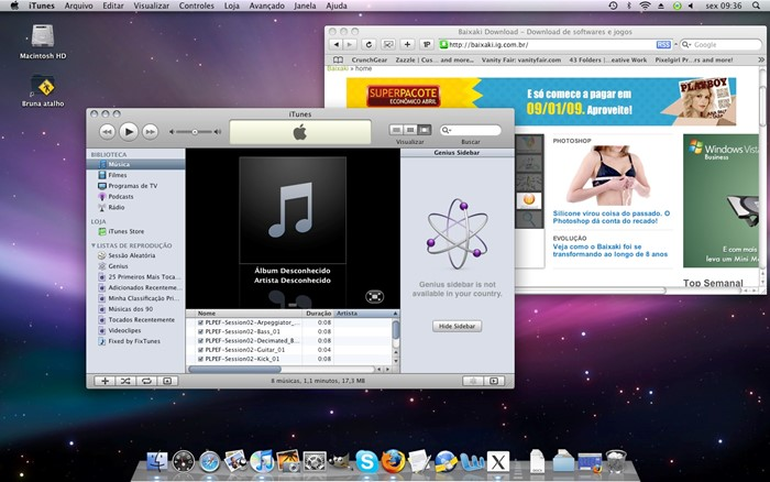 Interface do Mac OSX Leopard.